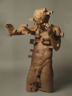 These Pixelated Sculptures That Look Like Computer Glitches Are Actually Made From Wood | Bored Panda