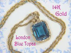 14K Gold ~ Caribbean Waves - Goldsmith Custom London Blue Topaz Pendant & Necklace OOAK  @@ FREE SHIPPING @@