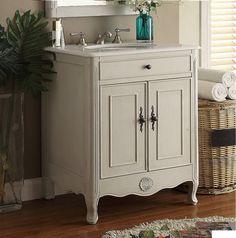 Photo Of  inch Bathroom Vanity Cottage Beach Style Vintage Grey Color Wx Dx