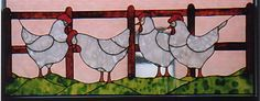 Picture (gal/Animals/Huehner.jpg) stained glass chickens