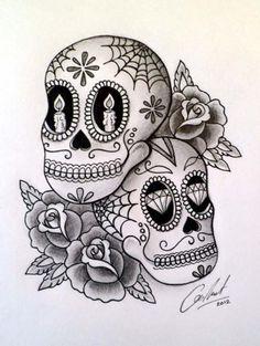 Roses And Sugar Skull Tattoo Designs | Tattoobite.com