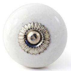 White cream ceramic knobs drawer pulls cupboard door knobs porcelain ...
