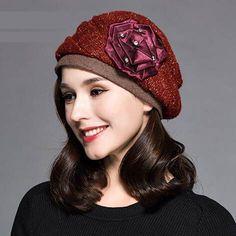 Vintage flower beret hat for women autumn winter hats