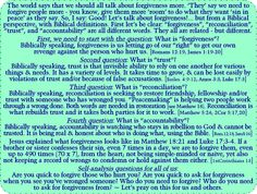 Because of the wild life's journey that I and my family and many others I've talked to, I have been trying to work on understanding what God means by forgiveness for quite a few years. I can't seem to find any specific passages that outright define it, but I think this teaching here gets pretty close.   Please comment or message me if you see an error and/or how I can make my understanding more clear from Scripture. Also any supplemental verses are most welcome. Thank you!  your growing bro…