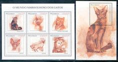 "Mozambique_""Cats""_sheet_of_six_stamps_with_Stamps-Marlen Stamp and Coins Ltd."