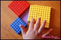 Lego Educational Activities: Pythagorean Theorem - Growing with Montessori Montessori Math, Homeschool Math, Homeschooling, Education Middle School, Right Triangle, Pythagorean Theorem, Mystery Of History, Guided Math, Educational Activities