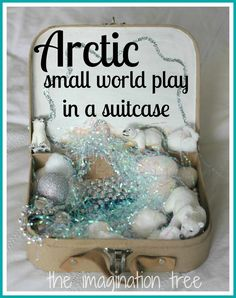 Here's how to create an Arctic small world in a suitcase for imaginative play on the go! Perfect as a creative, take-along gift for kids this Christmas!