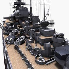 bismarck german battleship 3d model