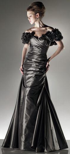 Off shoulder floor-length dress...make from trash bags