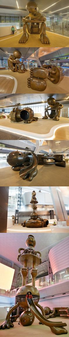Whimsical Bronze Sculptures Turn Hamad International Airport, Qatar into Interactive Playground, artist: Tom Otterness