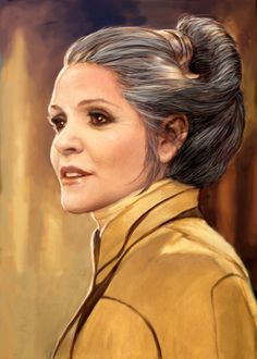 """OP: Princess Leia Revised (Jan. 2013), by Ian McCaig, from The Art of The Force Awakens.Artist Iain McCaig gave the  princess-turned-general a high-collared jacket inspired by the wardrobe  of the venerable actress Sarah Bernhardt. """"It's such an attractive  choice, because it really sculpts the face,"""" says McCaig.   Star Wars: The Force Awakens"""