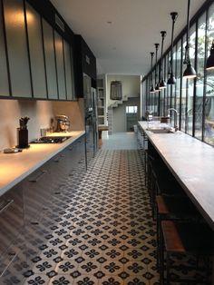 cement tiles black kitchen