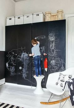 black board paint on their wardrobes if you can bear it!