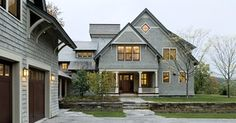 Shingle style home drive court to entry elevation - traditional - exterior - burlington - by Smith & Vansant Architects PC