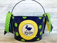 custom personalized 16 QUART name Easter bucket featuring a bunny on Etsy, $34.00