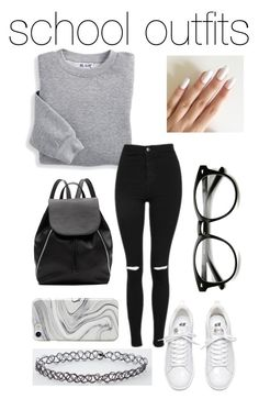 """""""school outfits #37- black grey white"""" by qimmig on Polyvore featuring Blair, Topshop, Witchery and Recover"""