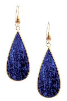 18K Gold Clad Elongated Teardrop Lapis Slice Earrings