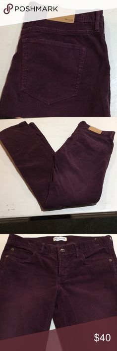 MADEWELL BURGUNDY STRAIGHT CORDS WITH STRETCH!! These are in incredible condition! A burgundy colored pair of corduroys by MADEWELL!! More straight leg fit with STRETCH! Size 26. Inseam 31.5. Madewell Jeans Straight Leg