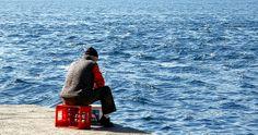 Lonely man near the Bosphorus