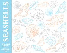 70% OFF SALE Digital Seashells Clip Art - Sea, Seashell, Ocean, Beach, Sea Life, Colorful Clip Art