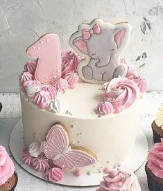 Cake Designs For Girl, Pink Birthday Cakes, Girls First Birthday Cake, Rodjendanske Torte, Elephant Cakes, Baby Girl Cakes, Butterfly Cakes, Fancy Cakes, Celebration Cakes
