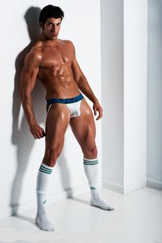 Just like shoes/belt or shoes/purse, everyone knows you match sock stripes to jockstrap band! How gauche!