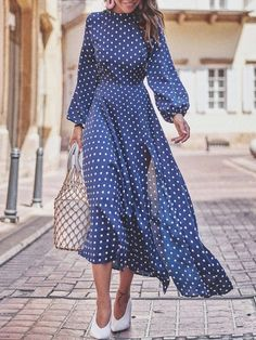 54 Winter Dresses To Inspire Daily Fashion Outfits Maxi Dress With Slit, Dot Dress, Dress Skirt, Dress Up, Modest Fashion, Fashion Dresses, Dress Outfits, Casual Dresses, Maxi Dresses