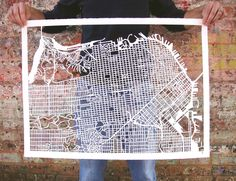 Cut-out street map of #SF by Karen M. O'Leary