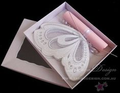 Butterfly Scroll Invitations ( with NO Box) wedding cards, 1st birthday…