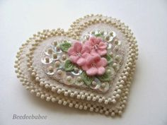 beads and sparkle heart pin