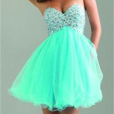 dress, mint, mint green, short, empire waist, sweetheart neckline, homecoming, teal, aqua, sparkly, glitter, tulle, beautiful - Wheretoget
