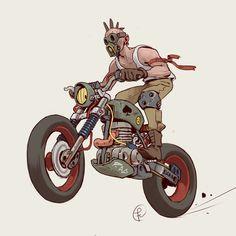 Moto Raider by Fernando Correa Fallout Art, Motorcycle Art, Bike Art, Motorcycle Wheels, Desenho Scooby Doo, Cyberpunk Kunst, Arte Nerd, Car Drawings, Automotive Art