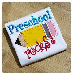 Preschool Rocks, Back to School Pencil Applique Shirt for Boys