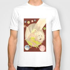 The Fae, The Lion and The Endless space T-shirt by Jinzha Bloodrose - $18.00