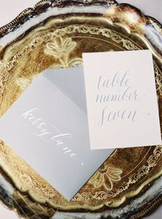Stationery on a Vintage Gold Tray   Rylee Hitchner Photography   Designer Wedding and Holiday Style from Rent the Runway!