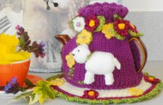 hand knit, crocheted and beaded - small tea cosy with mat set by peerietreisures on Etsy