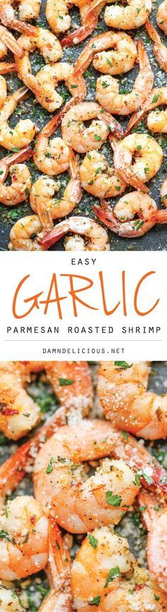 Garlic Parmesan Roasted Shrimp - The easiest roasted shrimp cocktail ever made with just 5 min prep. Yes, it's just that easy! The easiest roasted shrimp cocktail ever made with just 5 min prep. Yes, it's just that easy! Yummy Recipes, Fish Recipes, Seafood Recipes, Low Carb Recipes, New Recipes, Cooking Recipes, Favorite Recipes, Healthy Recipes, Seafood Meals