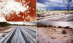 06/14/2015 - Snow in the desert: Freak hailstorm turns the Red Centre white blanketing parched earth in ice - Alice Springs, AU