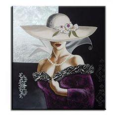 Cuadro dama con sombrero pintado a mano dormitorios salones 1030 - Tiendas de lamparas y cuadros Abricer