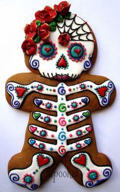 Skulls, calavera, day of the dead sugar skull cookies gingerbread Iced Cookies, Cute Cookies, Royal Icing Cookies, Holiday Cookies, Cupcake Cookies, Cupcakes, Sugar Cookies, Almond Cookies, Shortbread Cookies