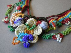 Collage ... Freeform Crochet Necklace by irregularexpressions