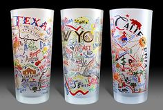 State Map Glasses: Frosted glasses with illustrated maps for each state in the US - Cat Studio makes emboidered pillows too, totally on my birthday wish list.