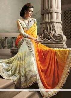 Off White And Orange Resham Work Net And Jacquard Half And Half Saree