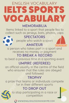 Here you will find English sports vocabulary words with detailed meanings and examples. Useful for vocabulary for IELTS, CAE, essays. English Grammar Rules, English Writing Skills, English Vocabulary Words, Learn English Words, English Phrases, English Idioms, English Language Learning, Spanish Language, Italian Language