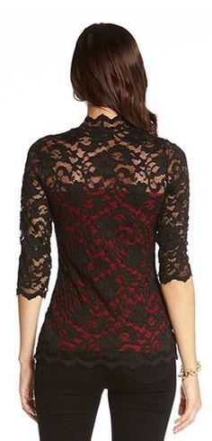Love Lace! Love the Design of this Top! Sexy Black Lace over Bold Red!  So Gorgeous!