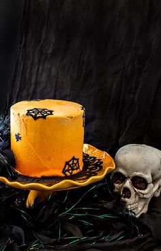 This Chocolate Creamsicle Ombre Halloween Cake is a little spooky and a little sophisticated. The perfect Halloween dessert recipe for your adult Halloween party. Plus, it's hard to beat the chocolate/orange/vanilla flavor combination! | pastrychefonline.com