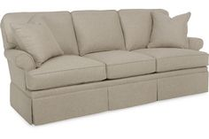 maybe do the skirt this way, with a smaller seam at the top.... CR Laine Sofa: 4410 (Keller Sofa)