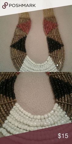 """Beaded Ethnic/Tribal Necklace 24"""" Beaded Necklace. Colors of brown, black, gold/ copper, off white. Lobster claw clasp. Jewelry Necklaces"""