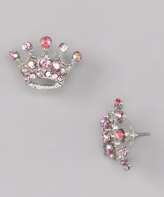 Look at this Pink Crystal Crown Stud Earrings on #zulily today!