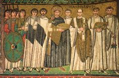 Justinian and His Attendants, Mosaic, San Vitale, Ravenna, c. 547
